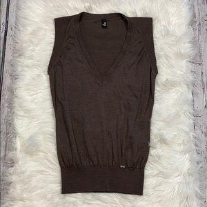 WOLFORD Silk V Neck Sweater Vest Brown sz L